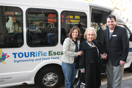 Sandro and Doris Roberts in front on Tourific Bus