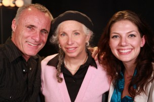 Timothy V Murphy, producer Pepper Jay, & host Julie-Kathleen Langan at Pepper Jay Productions Actors Reporter studio