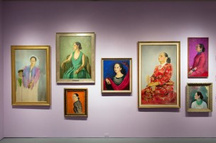 Portraits of Helena Rubinstein, including one with her son, by various artists.