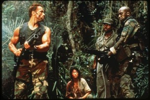 Arnold Schwarzenegger, Carl Weathers, Elpidia Carrillo and Bill Duke in Predator (1987)