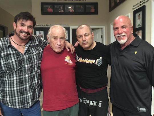 Stan Witz, Gene LeBell, Gokor Chivichyan, and Ric Drasin at Hayastan MMA Academy