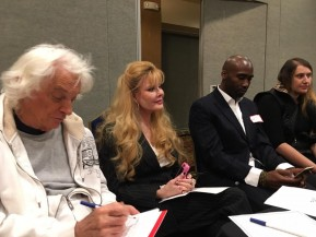 Joel Diamond, Rebecca Holden, and Keith Mitchell at Arts for Peace Pre-Summit