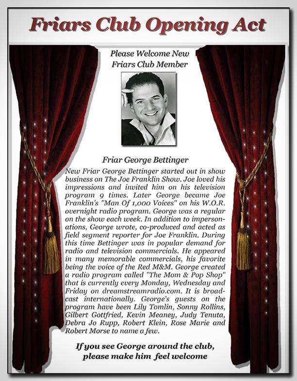 Friar George Bettinger performs at the Friars Club